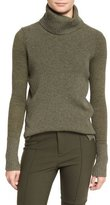Veronica Beard Asa Ribbed Cashmere Turtleneck Sweater, Army