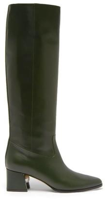 Nicholas Kirkwood Miri Faux Pearl-embellished Leather Knee Boots - Womens - Dark Green