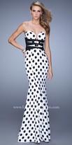 La Femme Polka Dot Trumpet Prom Dress