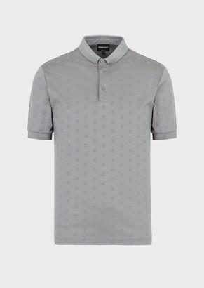 Giorgio Armani Polo Shirt With All-Over Flocked Ga Print