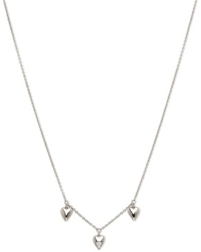 "AVA NADRI Silver-Tone Cubic Zirconia Triple-Heart Collar Necklace, 16"" + 1"" extender"