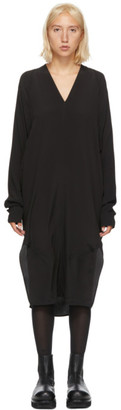 Rick Owens Black Silk V-Neck Dress