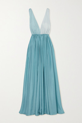 Kalita Adonis Two-tone Silk-habotai Maxi Dress - Light blue