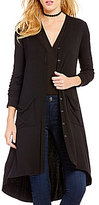 Soprano Button-Front Long Knit Cardigan