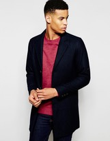Pull&bear Overcoat With Wool-blend In Navy