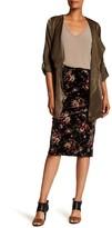 Bobeau Floral Print Pull-On Velvet Skirt