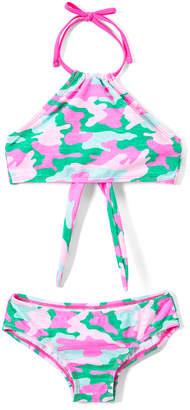 Kanu Surf Girls' Bikini Bottoms Pink/Green - Pink & Green Erin Camo Halter Bikini - Toddler & Girls