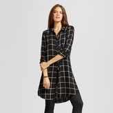 Women's Side and Front Slit Woven Plaid Tunic- Nitrogen