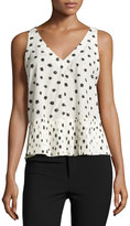Rebecca Taylor Dandelion-Print Sleeveless Top, Chalk/Black