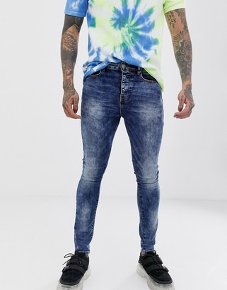 Sixth June skinny jeans in blue acid wash