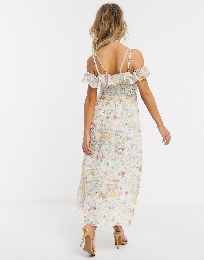 Thumbnail for your product : Hope & Ivy off shoulder midi dress in ditsy print