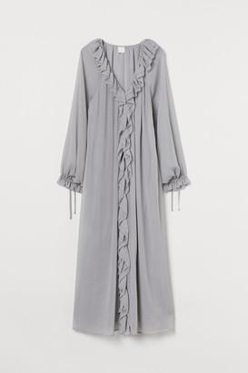 H&M Long Ruffle-trimmed Dress - Gray