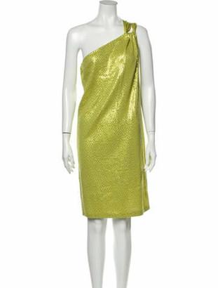 St. John One-Shoulder Knee-Length Dress Green