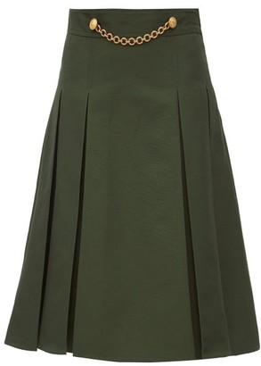 Gucci Draped-chain Pleated Cotton-blend Midi Skirt - Green