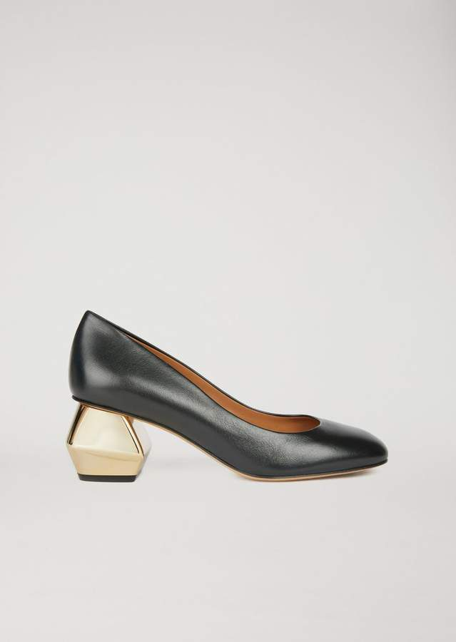 8ce5c3e056 Nappa Leather Court Shoe With Chromium-Plated Hexagonal Heel