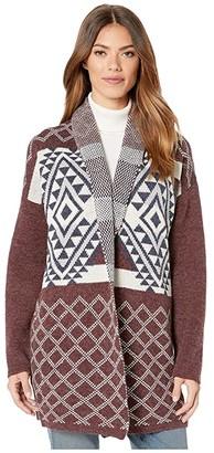 Wrangler Retro Long Sleeve Aztec Print Cardigan (Burgundy) Women's Clothing