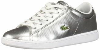 Lacoste Girls' Carnaby EVO Sneaker silver/white 1 Medium US Little Kid