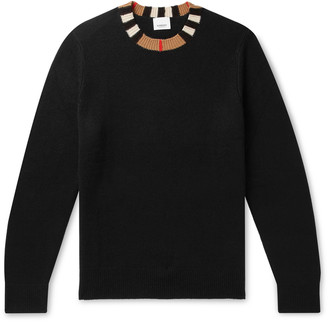 Burberry Check-Trimmed Cashmere Sweater