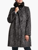 Four Seasons Fur Trimmed Leopard Print Coat, Grey