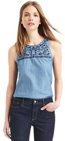 Embroidery denim racerback tank