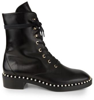 Stuart Weitzman Sondra Faux Pearl Leather Combat Boots