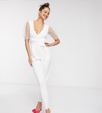 Outrageous Fortune Tall wrap front jumpsuit with organza puff sleeve detail in white