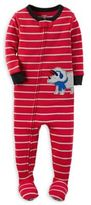 Carter's Striped Rhino Zip-Front Footed Pajama in Red