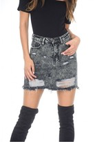 AX Paris Black Denim Ripped Mini Skirt