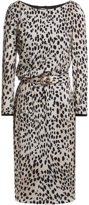 Roberto Cavalli Belted Leopard-print Wool And Silk-blend Jersey Dress