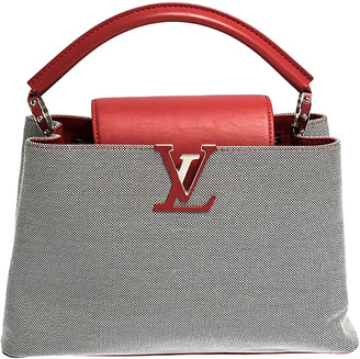 Louis Vuitton Grey/Red Canvas and Leather Capucines PM Bag