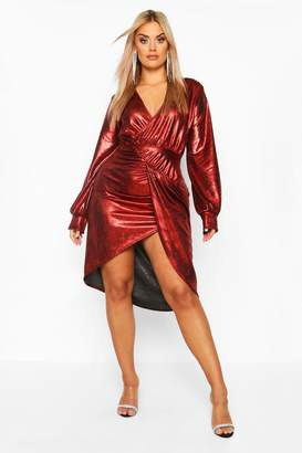 boohoo Plus Metallic Plunge Long Sleeve Wrap Detail Dress