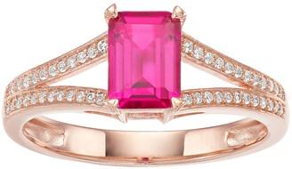 Unbranded 10k Rose Gold Ruby & 1/8 Carat T.W. Diamond Split Shank Ring