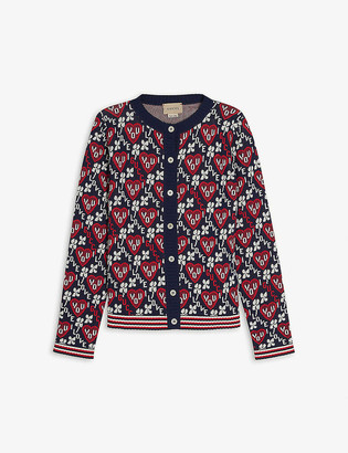 Gucci Logo-intarsia cotton-blend cardigan 8-12 years