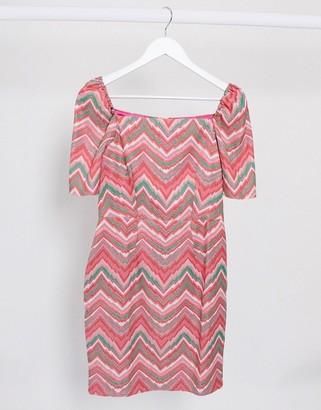 Closet London square neck textured mini dress in zig zag