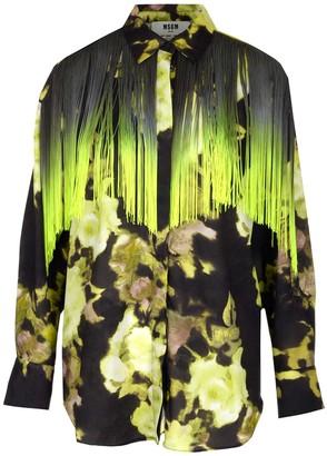 MSGM Floral Print Fringed Shirt