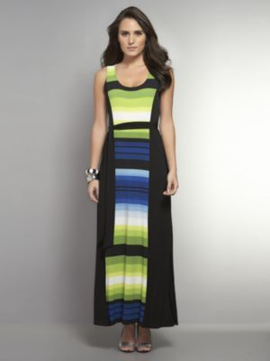 New York & Co. Striped Sleeveless Maxi Dress with Slit Hem