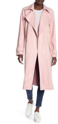 Bagatelle Faux Suede Open Front Draped Trench Coat
