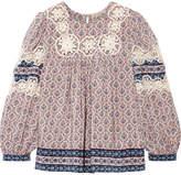 Sea Clara Crochet-trimmed Printed Silk Crepe De Chine Blouse - Blue