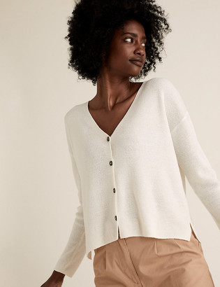 Marks and Spencer Textured V-Neck Button Front Cardigan