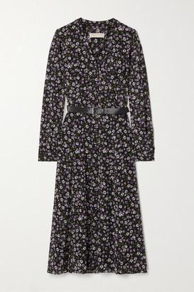 MICHAEL Michael Kors Belted Floral-print Georgette Midi Dress - Black