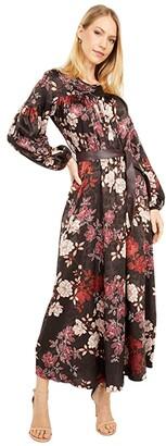 Calvin Klein Floral Print Dress with Faux Leather Belt (Coffee Bean/Khaki Multi) Women's Dress
