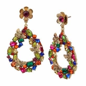 Betsey Johnson Butterfly Stone Cluster Gypsy Hoop Earrings