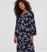Y.A.S Tall allover floral printed mini shift dress in navy