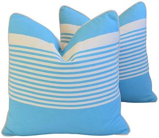 One Kings Lane Vintage French Blue & White Striped Pillows - Pr