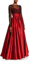 Theia Long-Sleeve Floral Embellished Bodice Taffeta Skirt Gown
