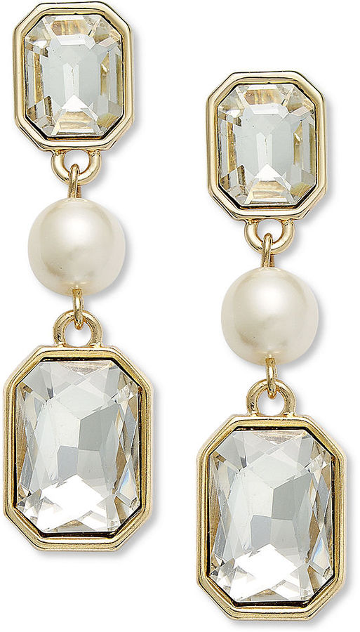 Charter Club Gold-Tone Crystal and Imitation Pearl Linear Drop Clip-On Earrings