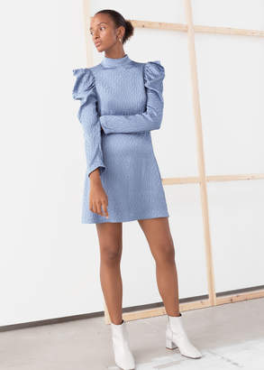 And other stories Jacquard Puff Shoulder Mini Dress