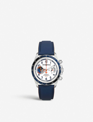 Bell & Ross BR V2-94 Racing Bird stainless steel and leather chronograph watch