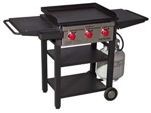 Camp Chef Flat Top Three Burner Grill and Griddle - Black
