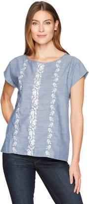 Caribbean Joe Women's Short Sleeve Embroidered Chambray Top
